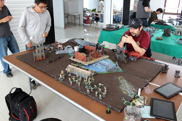 On one of the tables- three armies clashed - Tyranids, Blood Angles and Necrons