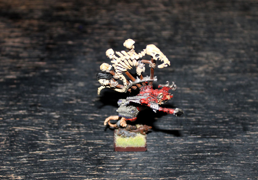 Battle Standard Bearer flee.As you can see I also used proxies -- BSB looks very similar to Queek The Headtaker:)