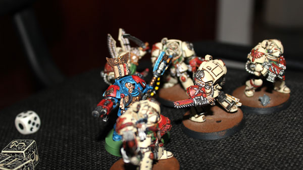 Blood Angels Brother Librarian Titus and his squad of Terminators /looking exactly like Deathwing squad -proxies:) /.