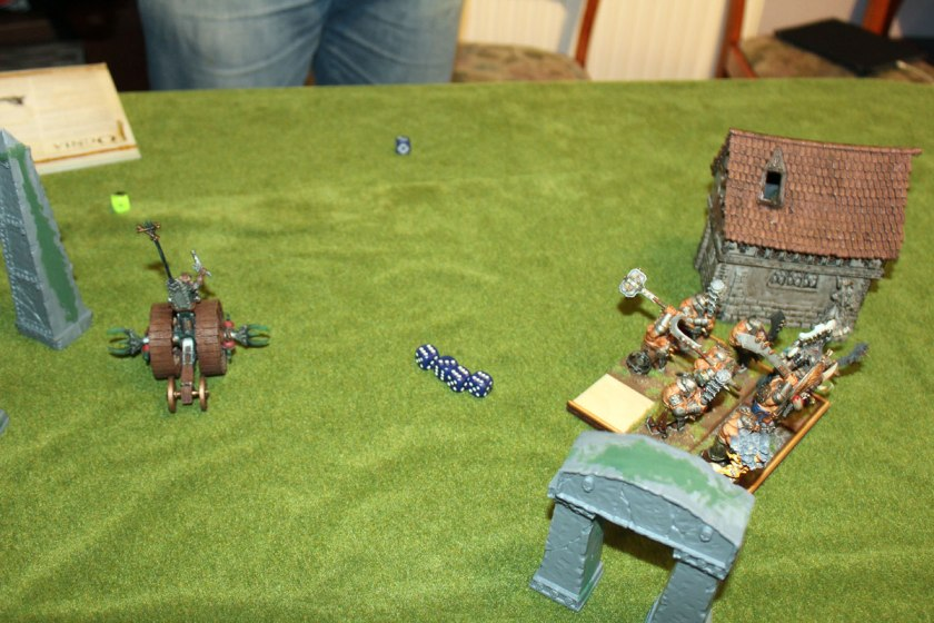 Doomwheel rolled right behind the unit of Ironguts.