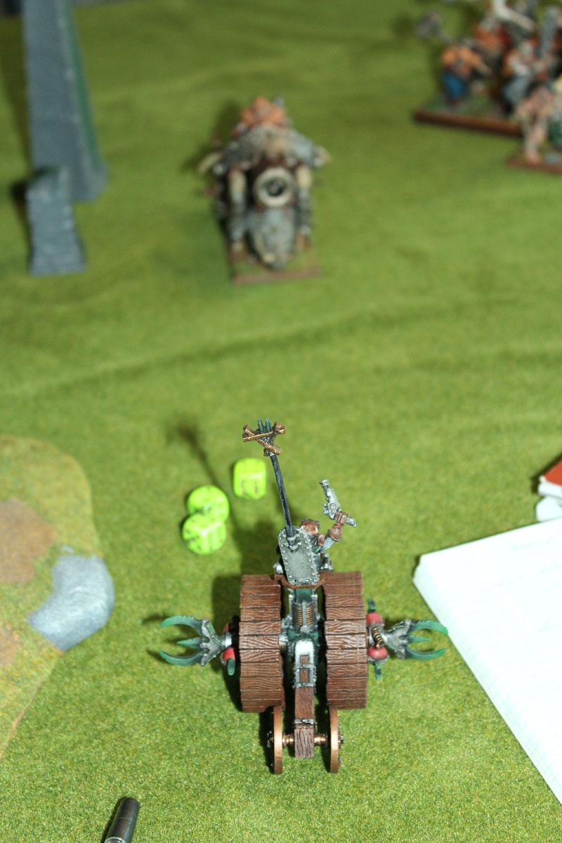 Doomwheel rolling into Ironblaster.