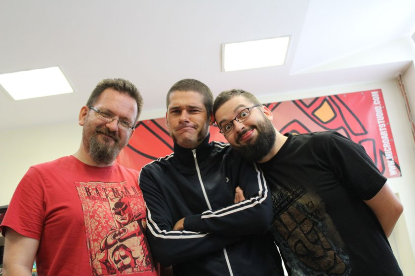 From The Left; Sebastian Makowski (boss of Micro Art Studio), me and Łukasz Perzenowski ( creator of Wolsung Skirmish Game)