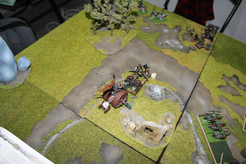 Western flank: Spider Chariot charged Doomwheel
