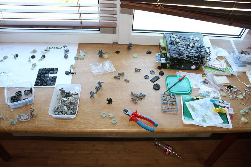 Whole window ledge covered with models. Preparing for the travel...