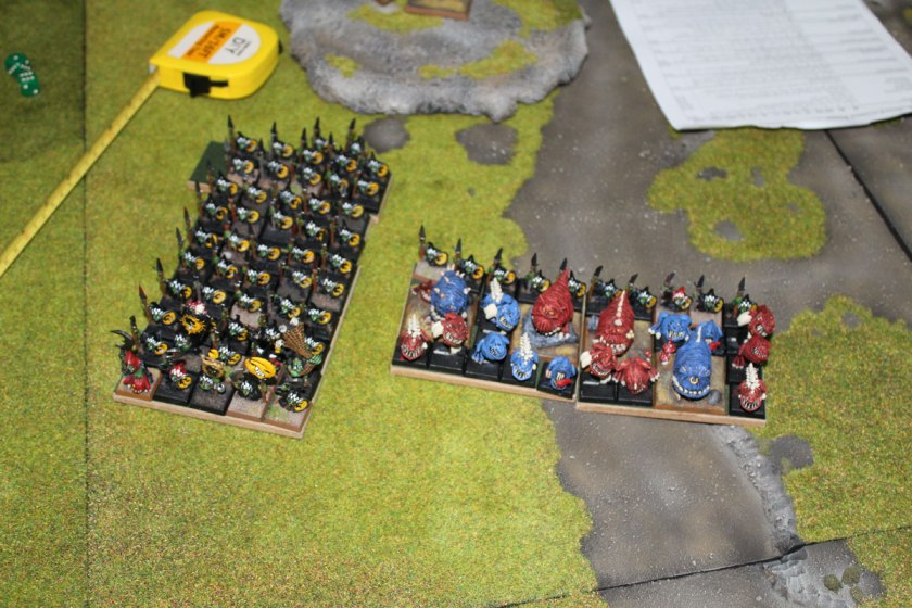 Night Goblins and Squigs preparing to charge Clanrats.