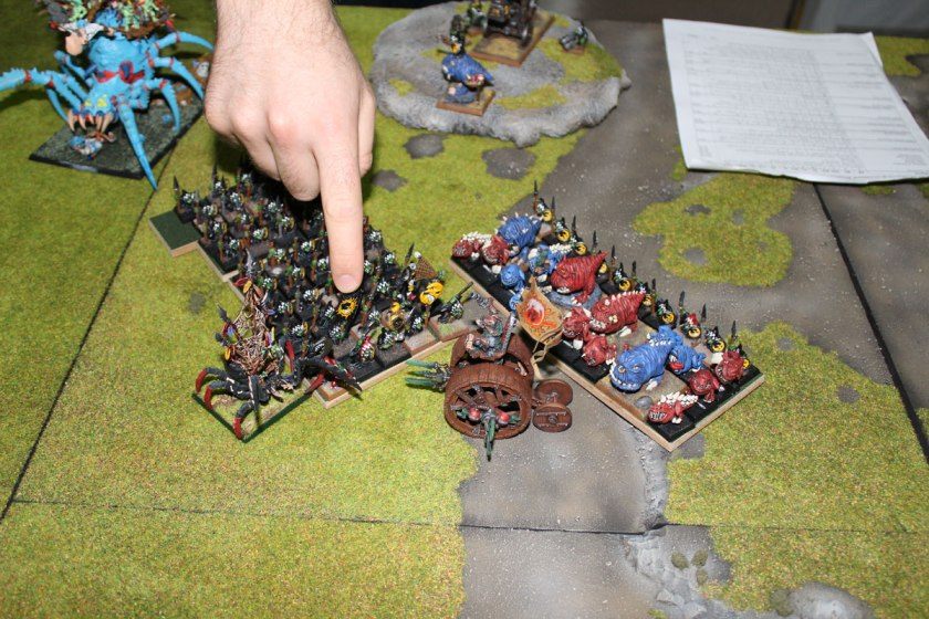 Doomwheel overran by Goblins and Squigs.