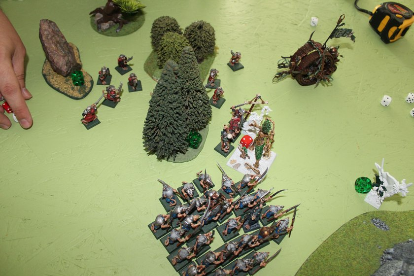 The rest of Stormvermin were attacked by Treemen. All unit was doomed.