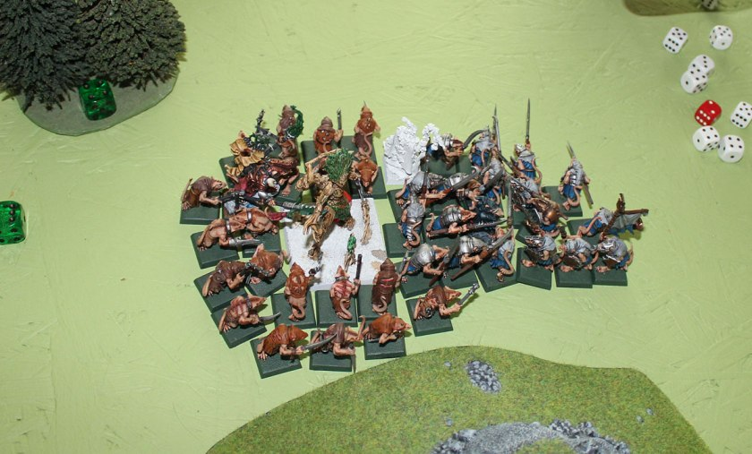 Treemen and Elven Lord surrounded.