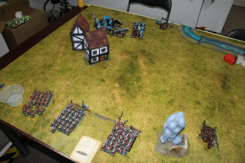 Most action took place in southern part of the battlefield near small Bretonnian settlement.