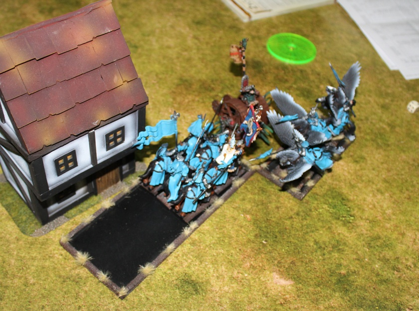 Doomwheel charged by Bretonnian Knights.