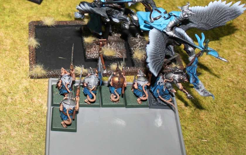 Pegasus Knights vs Clanrats. Tied combat situation.