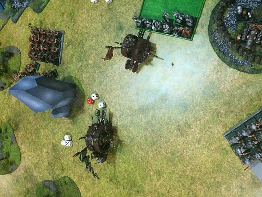 Doomwheel charged Longbeards and another one is broken going into the woods.